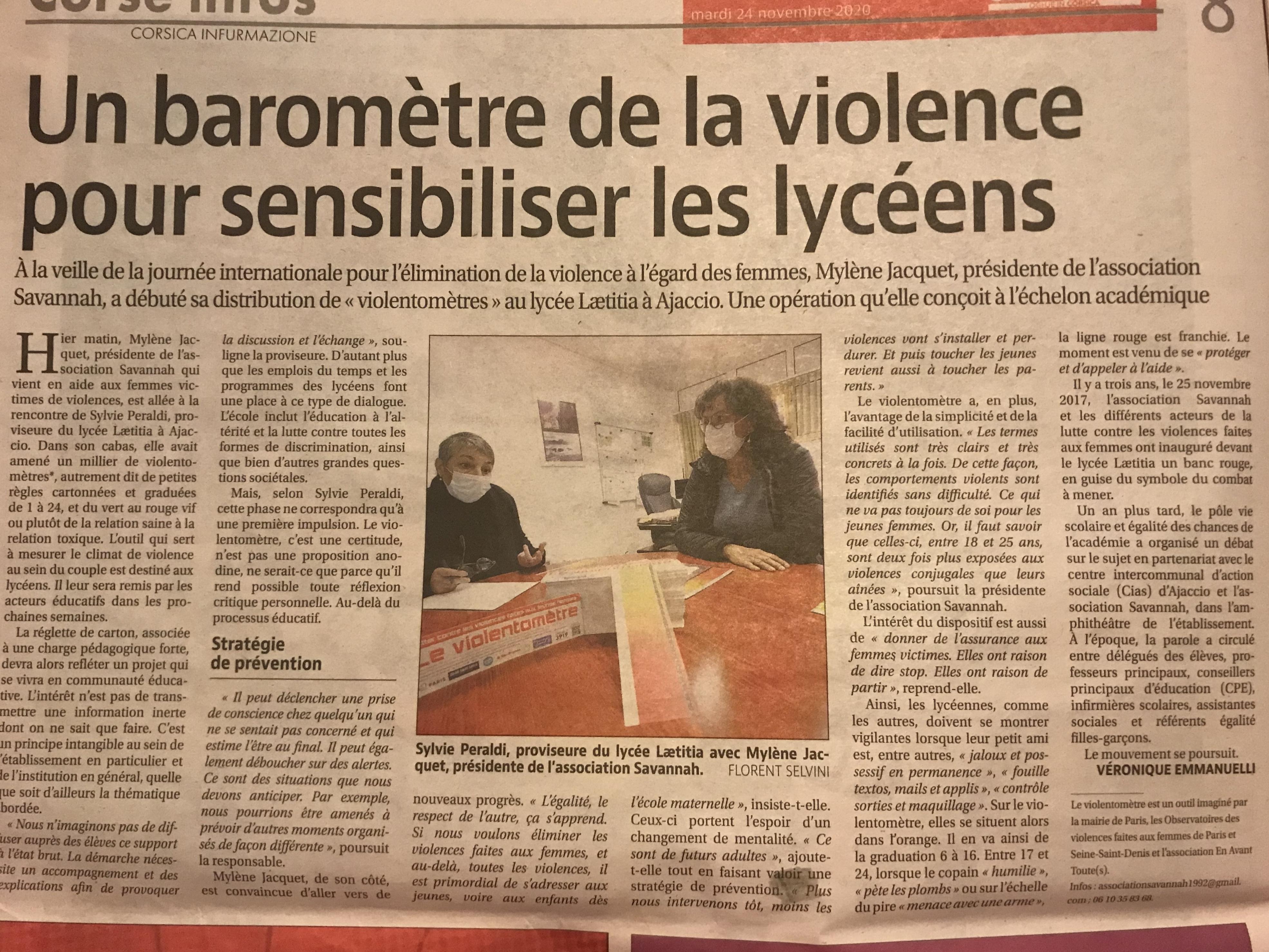 VIOLENTOMETRE : campagne de distribution dans les lycées de Corse …