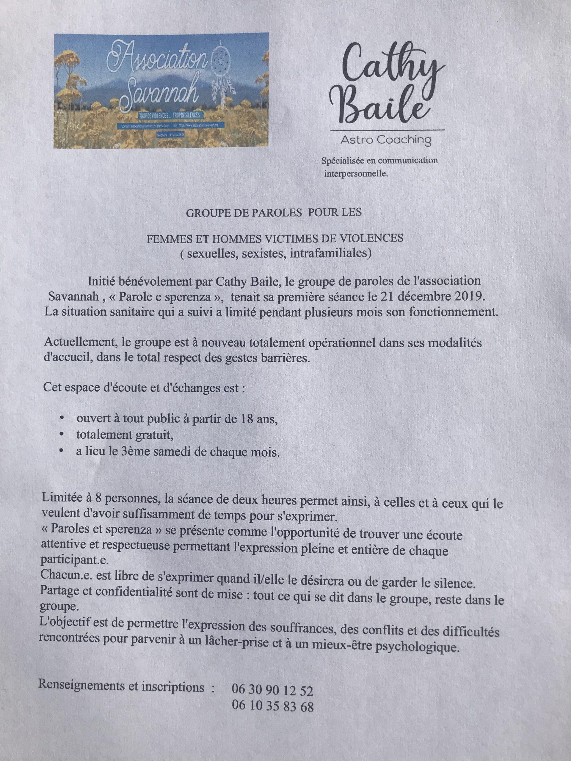 """""""Paroles e sperenza"""", groupe de paroles de l'association :"""