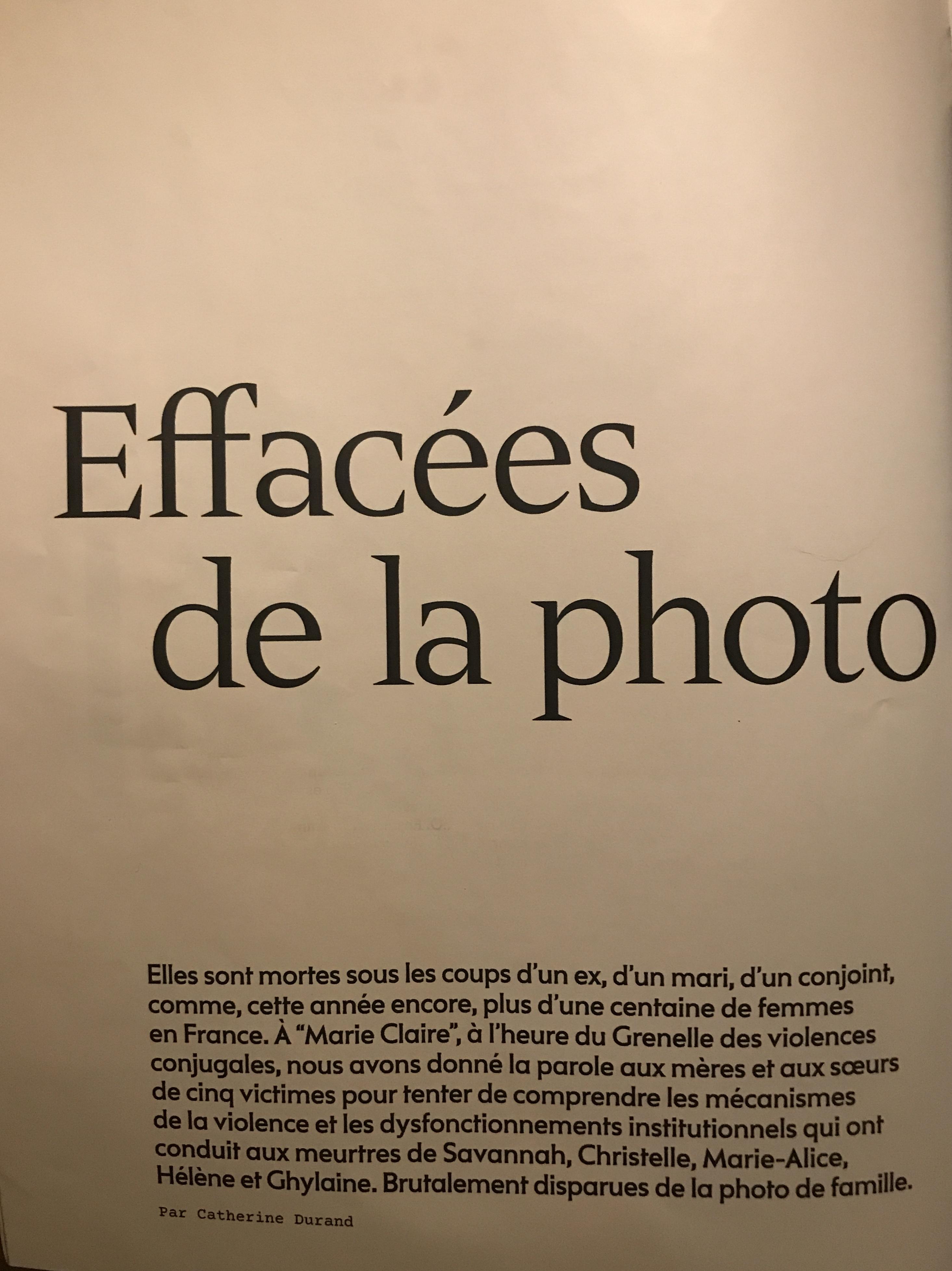 """Magazine """"Marie-Claire"""" de décembre, témoignages de proches de victimes"""